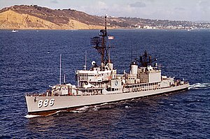 USS Orleck (DD-886) underway off Point Loma, in 1964