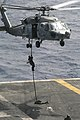 US Navy 040713-N-1087H-008 A member of Explosive Ordnance Disposal (EOD) mobile unit 2, fast rope from an SH-60 Seahawk assigned to the Dragonslayers of Helicopter Anti-Submarine Squadron One One (HC-11) onto the flight deck o.jpg
