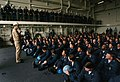 US Navy 050812-N-2383B-260 Chief of Naval Operations Adm. Mike Mullen address officers and crew members of Pre-Commissioning Unit San Antonio (LPD 17).jpg