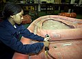 US Navy 050823-N-5134J-012 Airman Lahoya Harrison inflates a life raft from a P-3C Orion aircraft to check for leaks or other damages.jpg