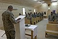 US Navy 051211-M-7772K-033 Second Marine Division Chaplain, U.S. Navy Capt. Bryan J. Weaver, leads a song during a church service at Regimental Combat Team 2's Chapel.jpg