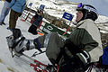 US Navy 060304-N-0696M-325 U.S. Navy Hospital Corpsman 3rd Class Joseph Worley, who lost most of his left leg in Fallujah, Iraq, is ready to hit the slopes in Vail, Col.jpg