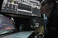 US Navy 080118-N-9639L-075 ) Air Traffic Controller Airman Recruit Rose Bowen watches weather conditions for primary flight control while working the right-side integrated ship's information system (ISIS) aboard USS Harry S. Tr.jpg