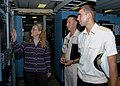 US Navy 080904-N-3970R-002 Naval Oceanographic Office hydrographer Marian Clough gives Ukrainian Navy Cmdr. Zagomodniy and Lt. j.g. Vasilii Yuriichuk an overview of the capabilities of USNS Pathfinder (T-AGS-60).jpg