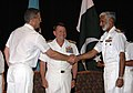 US Navy 090720-N-8053S-068 French Rear Adm. Alain Hinden, left, shakes hands with Pakistan Navy Rear Adm. Muhammad Zakaullah at the Combined Task Force (CTF) 150 change of command ceremony.jpg