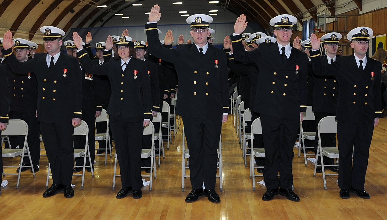 File us navy 110311 n wq300 023 more than 80 officer candidates take the oath of office during a - Ocs officer candidate school ...