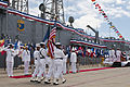 US Navy 110421-N-BT887-058 A U.S. Navy color guard parades the colors during the decommissioning ceremony of the guided-missile frigate USS Jarret.jpg