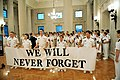 US Navy 110911-N-DT975-002 U.S. Naval Academy Midshipmen hold a banner during a Sept. 11, 2001 remembrance ceremony in Memorial Hall at the U.S. Na.jpg