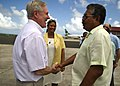 US Navy 111213-N-AC887-001 The Secretary of the Navy (SECNAV), the Honorable Ray Mabus greets President of Palau Johnson Toribiong and Helen Reed-R.jpg