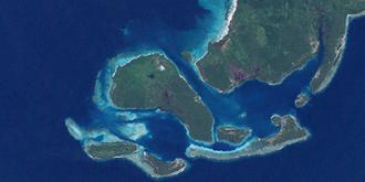 Ulu (island) - Ulu island, center left, in the Duke of York Islands group. NASA Landsat 7 image, 2000.