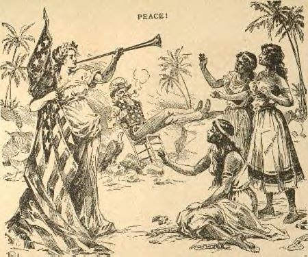 Uncle Sam and the Goddess of Liberty bring freedom to Cuba, Puerto Rico, and the Philippines (1898 newspaper cartoon)
