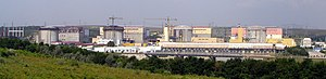 Cernavodă Nuclear Power Plant - The nuclear power plant in 2006. At the time, only Unit One, on the far right was in commercial operation, unit two came into operation in 2007.