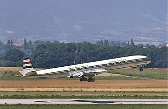 EgyptAir - A United Arab Airlines Comet 4C departs Geneva Airport in 1968.