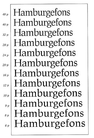 Font - A set of optical sizes developed at URW++. The fonts become thicker and more widely spaced as the point size for which they are designed decreases.