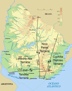 Río de la Plata Craton - Image: Uruguay fisico SZ