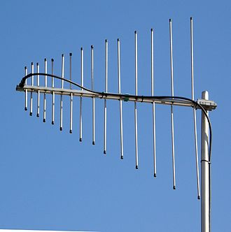 Log-periodic antenna - Image: VHF UHF LP antenna closeup