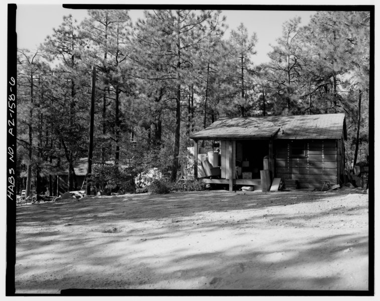 File:VIEW OF CABIN 2 AND CABIN 1. CABIN 2 IS IN FOREGROUND, LOOKING SOUTHWEST - Horsethief Basin Resort, 7 miles Southeast of Crown King, Crown King, Yavapai County, AZ HABS ARIZ,13-CROWNK.V,1-6.tif