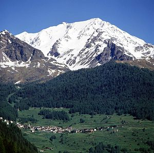 Val di Sole - The town of Peio and Mount Vioz in the Sole Valley