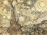 A drawing of a landscape in which the starry night sky takes up two thirds of the picture. In the left foreground a cypress tree extends from the bottom to the top of the picture. To the left, village houses and a church with a tall steeple are clustered at the foot of a mountain range. In the upper right is a crescent moon surrounded by a halo of light. There are many bright stars large and small, each surrounded by swirling halos. Across the centre of the sky the Milky Way is represented as a double swirling vortex