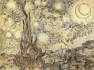 Cypresses in Starry Night, a reed pen drawing executed by Van Gogh after the painting in 1889.