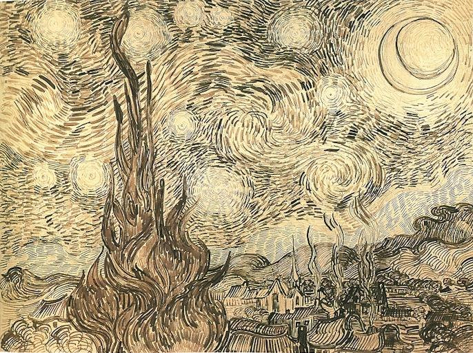 Van Gogh Starry Night Drawing