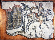 Vandal cavalryman, c. AD 500, from a mosaic pavement at Bordj Djedid near Carthage.jpg