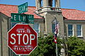 Vandalized stop sign - Don't Stop Believin'.jpg