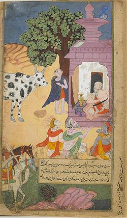 Vasistha summons Sabala, the cow of abundance, to provide for a feast.jpg