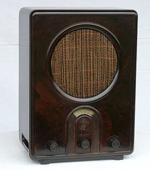 "Eumig - A VE301W model Volksempfänger, or ""People's Radio Receiver,"" produced by EUMIG in the 1930s. The cabinet is made of bakelite, and the speaker screen of silk."