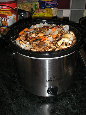 Cholent - Vegetable cholent assembled in a slow cooker before Shabbat
