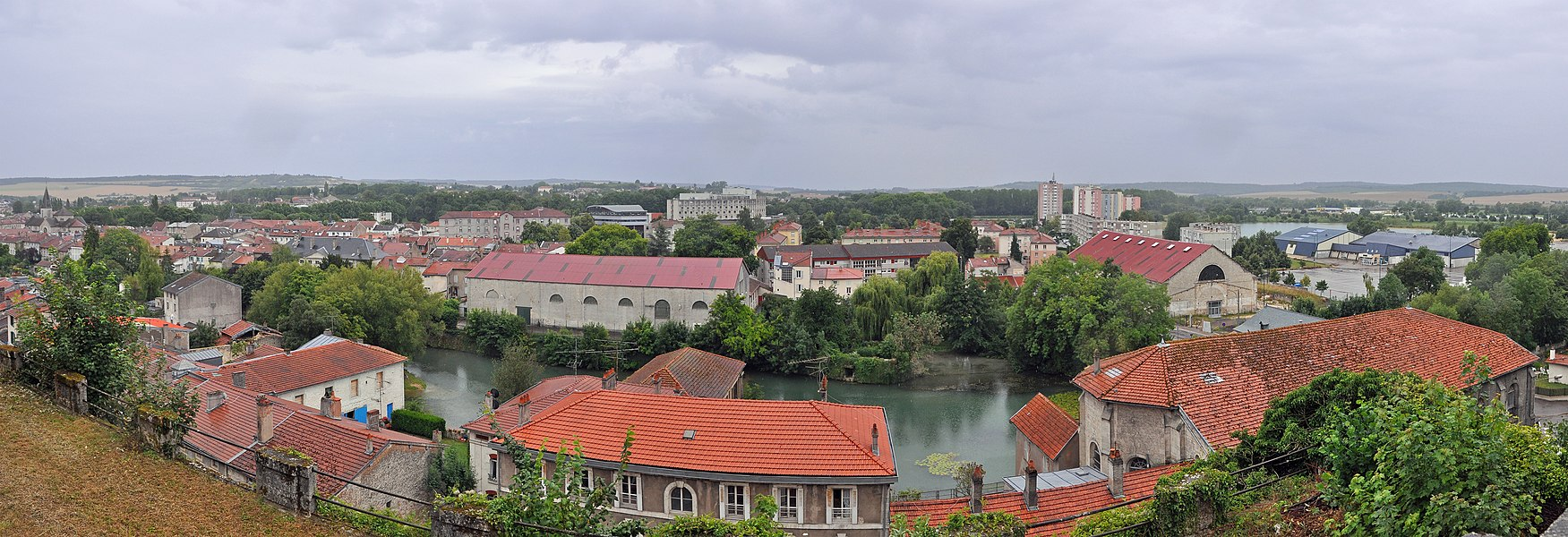 Verdun (France): panorama of the southern part of the town, on a rainy day