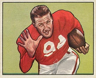 Verl Lillywhite - Lillywhite on a 1950 Bowman football card