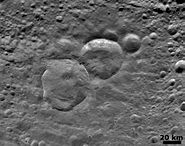 Vesta Snowman craters close-up