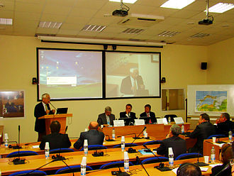Videoconferencing in Vladivostok State University of Economics and Service Vgues audimax.JPG