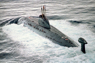 Victor-class submarine - A Victor III-class submarine on the surface.