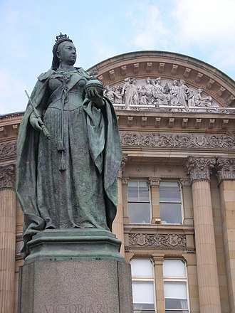 Birmingham City Centre -  Statue of Queen Victoria in Victoria Square.
