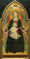 Thronende Madonna mit Kind umgeben von Gottvater, dem hl. Geist und Engeln