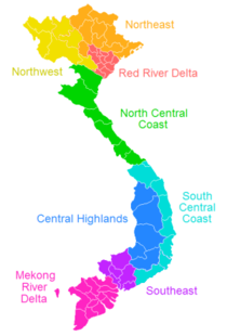 Location of the Mekong Delta region within Vietnam