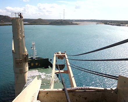 View from the top of a container ship crane. - Container ship
