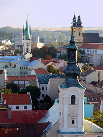 Nitra - View from the south side of Nitra Castle (in focus 3 church steeples)