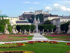 Mirabell Palace - Mirabell gardens, view to Hohensalzburg