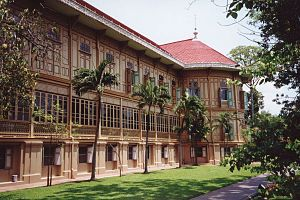 Dusit Palace - The Vimanmek Mansion, built in 1900, is entirely made of teak and was first situated at Ko Sichang in Chonburi Province, but was dismantled by the orders of the king and reconstructed at Dusit Palace in 1901.
