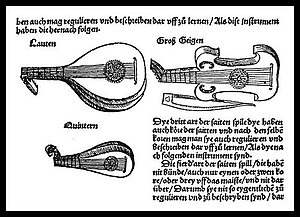 Viol - Illustration from Sebastian Virdung's (German) 1511 treatise Musica Getutsch, showing the lute family—plucked and bowed. This is the first printed illustration of a viol in history.