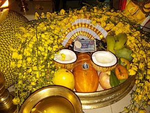 Vishu - A traditional Vishu kani setting with auspicious items.