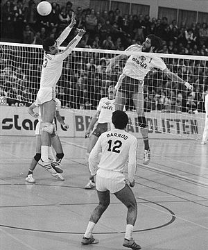 Real Madrid Voleibol - Real Madrid playing the semifinals of the 1977–78 European Cup. It has been the best participation of a Spanish team in the top European club competition to date
