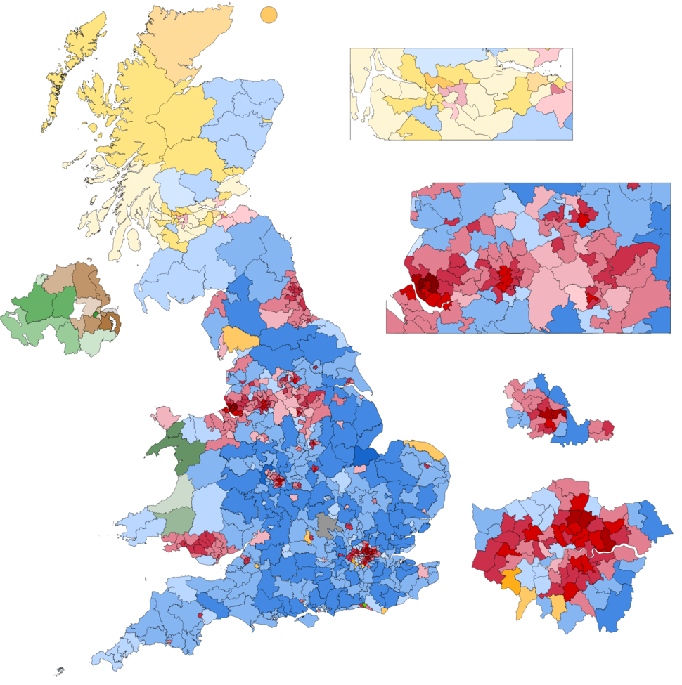 Vote share percentage for individual constituencies.