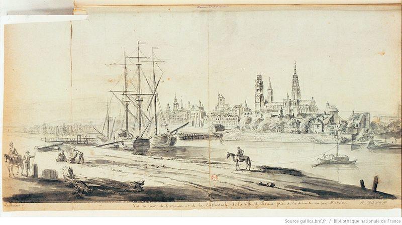 File:Vue du pont de bateaux et de la cathédrale de la ville de Rouen prise de la descente du port Saint-Ouen.jpeg