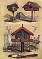 WHATAS, OR PATUKAS, Storehouses for Food, The New Zealanders Illustrated, 1847.jpg