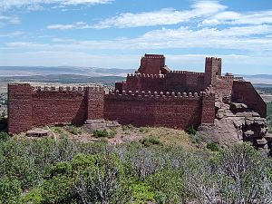Sierra Menera - The Castle of Peracense built on a ridge in Sierra Menera