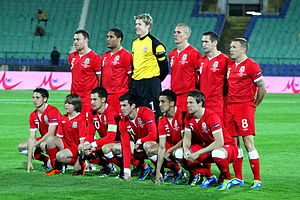 Wales national football team - The Wales team on 11 October 2011 ahead of their UEFA Euro 2012 qualifying match against Bulgaria in Sofia